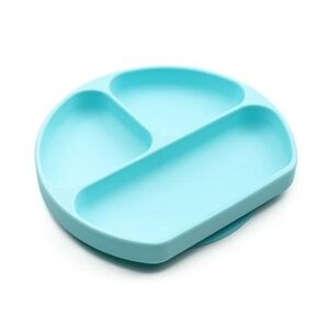 Plato de silicona de color azul con divisores