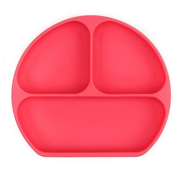 Plato de silicona de color rojo con divisores