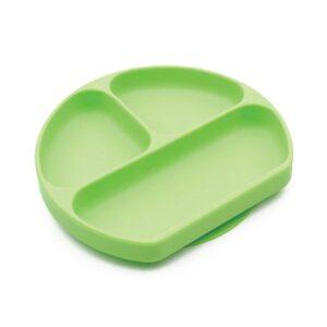 Plato de silicona de color verde con divisores