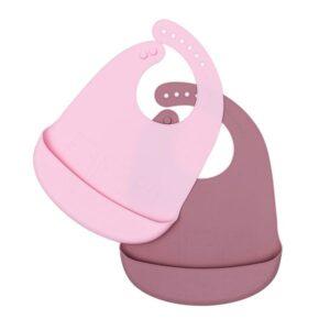 Babero de silicona rosa empolvado y Rose