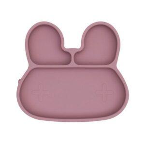 Plato con ventosa de conejito rosa