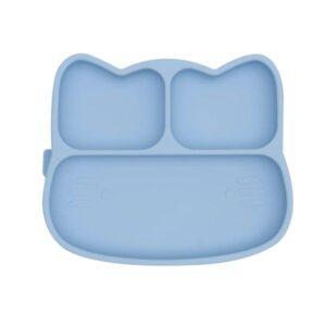 Plato con ventosa gato azul empolvado