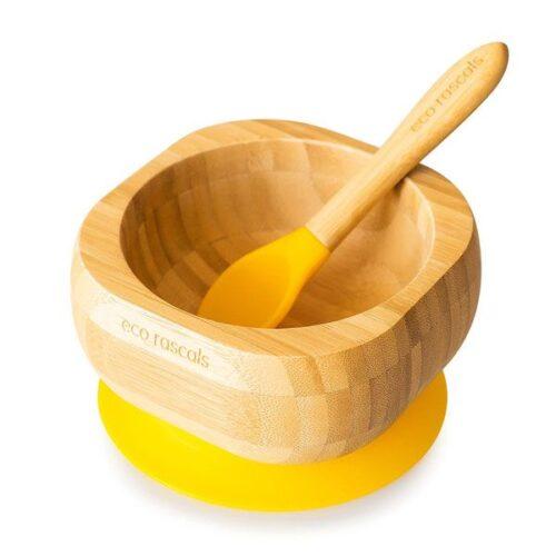 Bol de bamboo con base amarilla