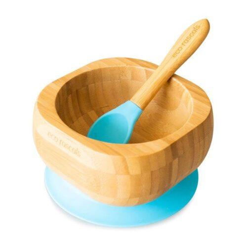 Bol de bamboo con base azul