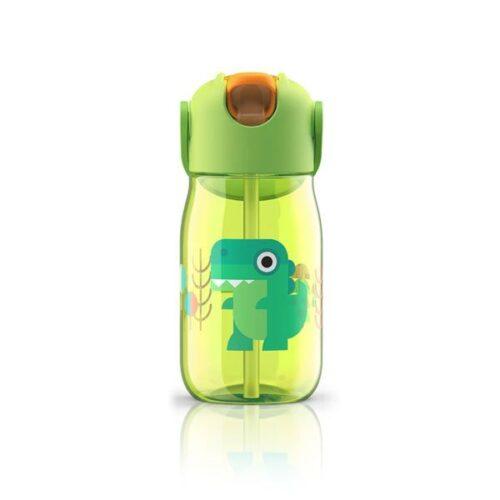 Botella con pajita de silicona dinosario