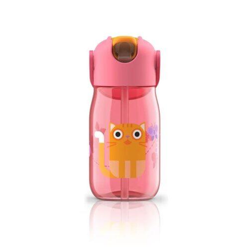 Botella con pajita de silicona gato