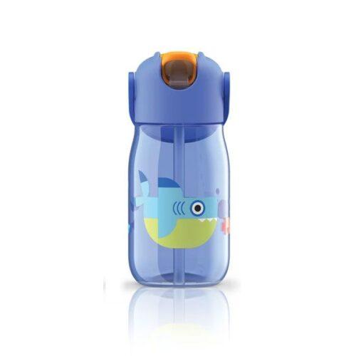 Botella con pajita de silicona tiburón
