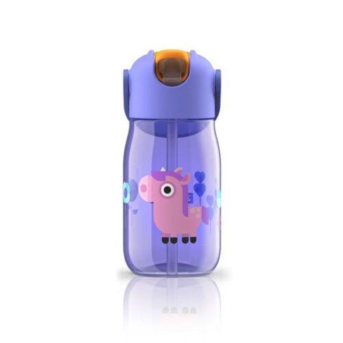 Botella con pajita de silicona unicornio