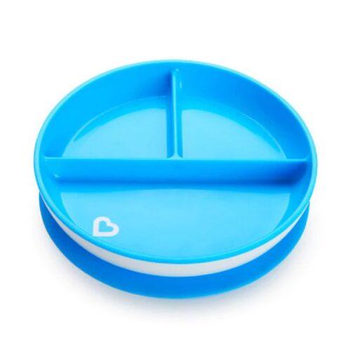 Platos con ventosas con divisiones de color azul